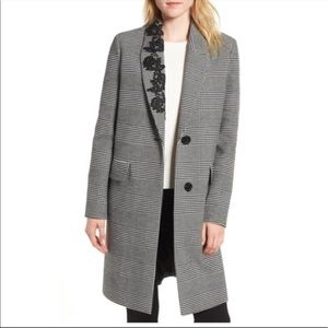 Kensie Glen Plaid Lace Detail Topper Jacket